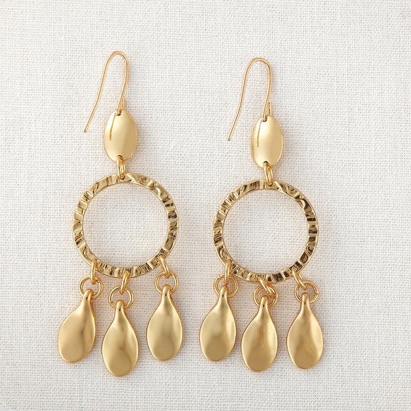 Gold Plated Petal with Circle Earrings