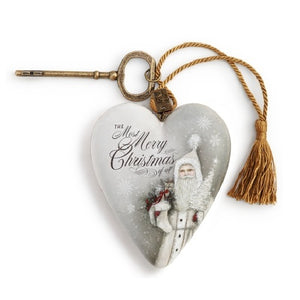 "DEMDACO Art Heart - 10cm/4"" White Christmas Santa"
