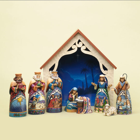 Heartwood Creek Nativity - Deluxe Mini 9pc Nativity Set
