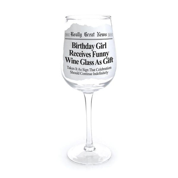Really Great News - Birthday Girl Wine Goblet