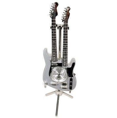 TWIN NECK GUITAR SILVER MINI CLOCK