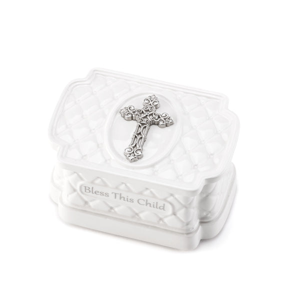 DEMDACO Tender Blessings - Bless This Child Keepsake Box with Rosary Beads