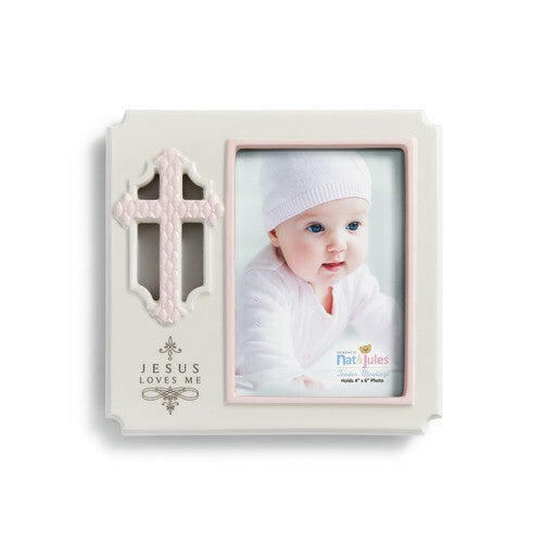 DEMDACO Tender Blessings - Pink Jesus Loves Me Frame