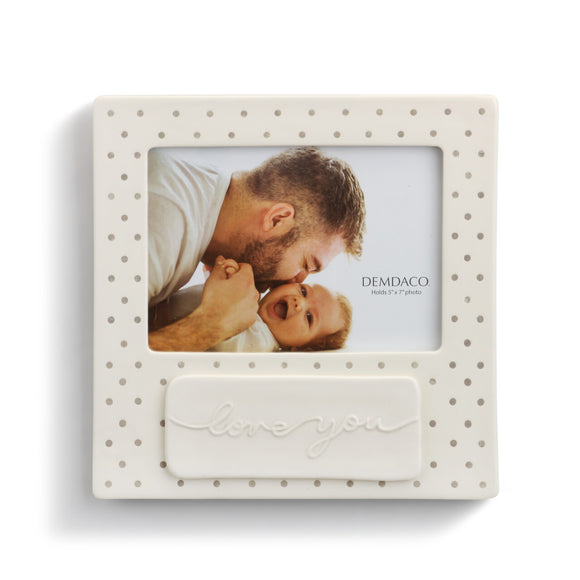 DEMDACO Tender Blessings - Love You Frame Stoneware Polka Dots