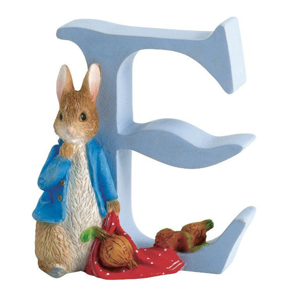 Beatrix Potter Alphabet Letter E - Peter Rabbit with Onions