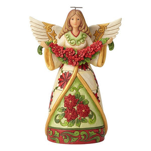 "Heartwood Creek - 24cm/9.5"" Angel With Poinsettia Garland"