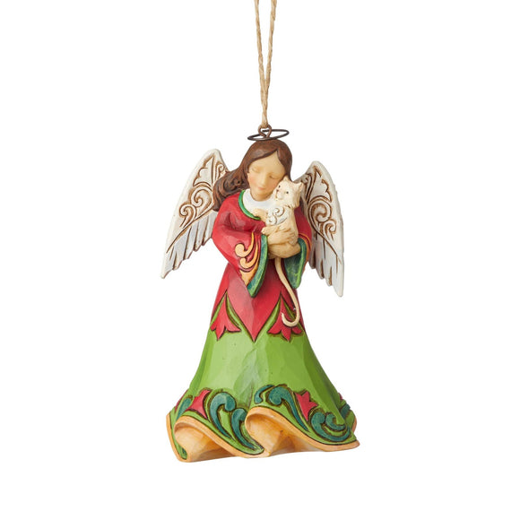 Heartwood Creek Hanging Ornaments - Angel Holding Kitten
