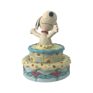 Peanuts by Jim Shore - Snoopy Jumping Out Birthday Cake