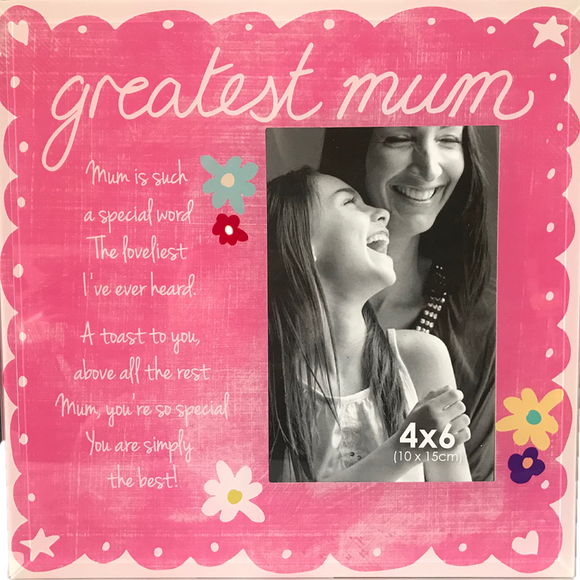 Greatest Mum Glass Photo Frame 4*6
