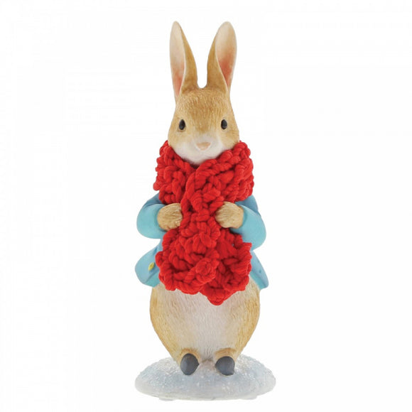 Beatrix Potter Mini Figurine - Peter Rabbit in a Festive Scarf Figurine