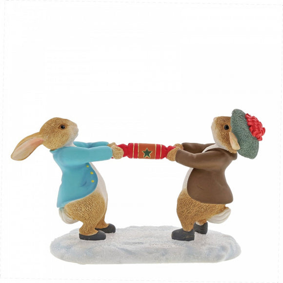 Beatrix Potter Winter - Peter Rabbit and Benjamin Pulling a Cracker Figurine