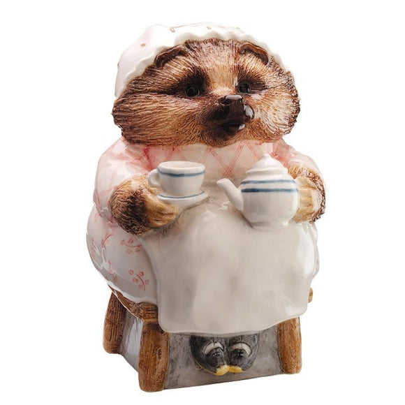 Beatrix Potter Money Bank Mrs. Tiggy-Winkle Drinking Tea