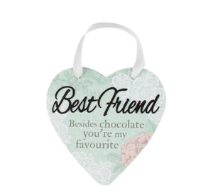 H&H Reflective Words Heart Hanger - Best Friend
