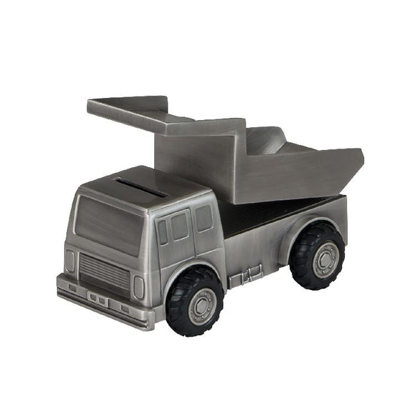 Money Bank - DUMP TRUCK PEWTER FINISH - Gifts for Kids