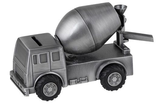Money Bank - CEMENT TRUCK Pewter Finish - Gifts for Kids
