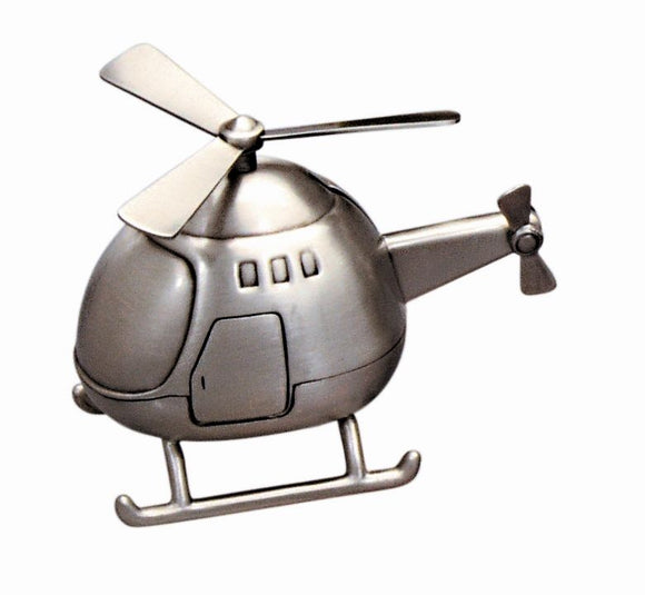 Money Bank - HELICOPTER PEWTER FINISH - Gifts for Kids
