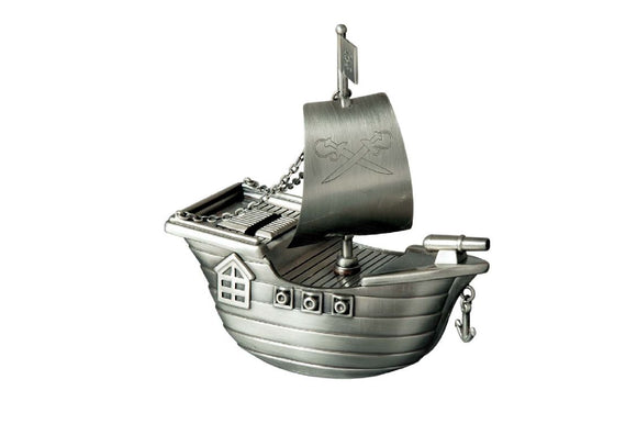 Money Bank - JOLLY ROGER PIRATE SHIP PEWTER FINISH - Gifts for Kids