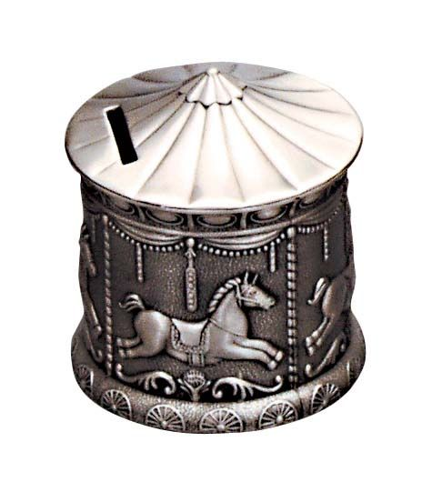 Money Bank - MERRY GO ROUND PEWTER FINISH - Gifts for Kids
