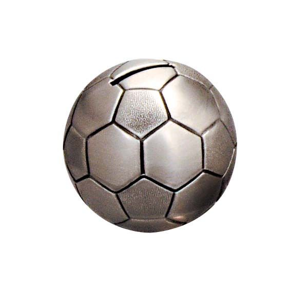 Money Bank - SOCCER BALL PEWTER FINISH - Gifts for Kids