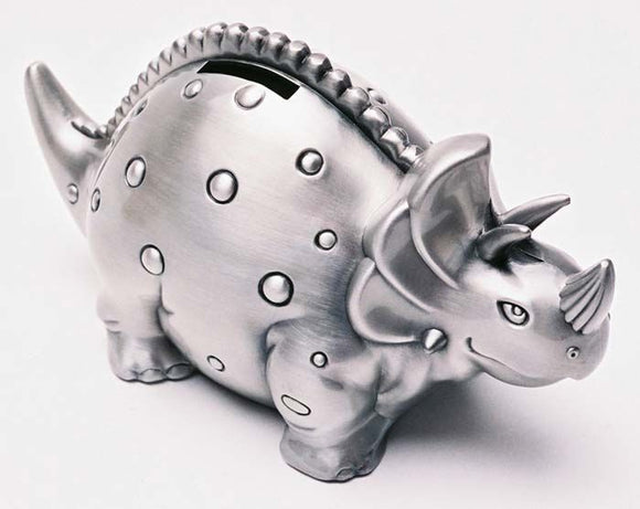 Money Bank - TRICERATOPS PEWTER FINISH - Gifts for Kids
