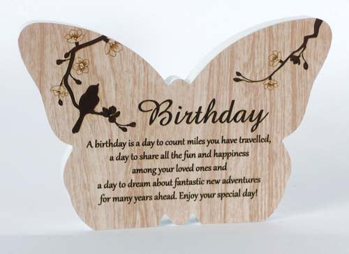 Sincerity Butterfly Sentiment Plaque - Birthday