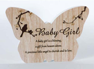 Sincerity Butterfly Sentiment Plaque - Baby Girl