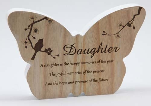 Sincerity Butterfly Sentiment Plaque - Daughter
