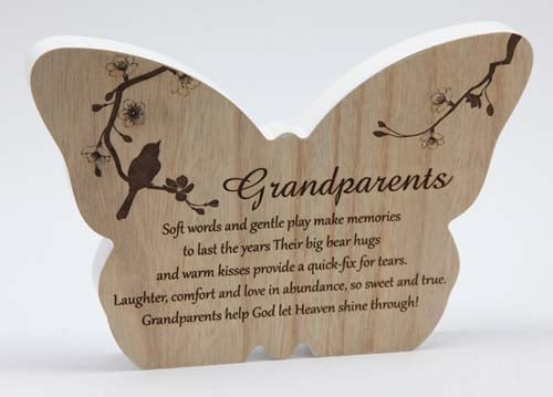 Sincerity Butterfly Sentiment Plaque - Grandparents