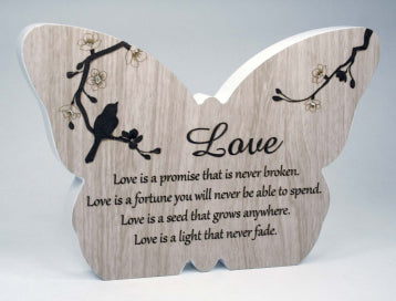 Sincerity Butterfly Sentiment Plaque - Love