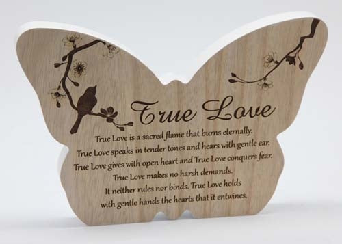 Sincerity Butterfly Sentiment Plaque - True Love