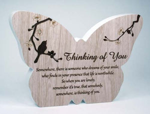 Sincerity Butterfly Sentiment Plaque - Thinking Of You
