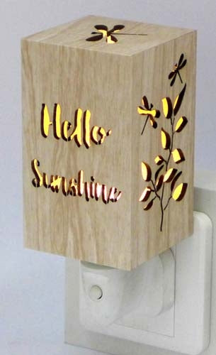 Starlight Wood Night Light 7x7x10 Hello Sunshine