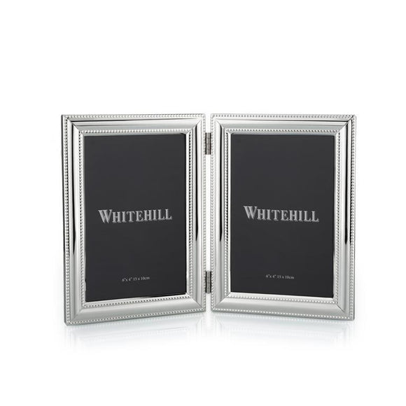 Whitehill Studio - Silverplated Beaded Double Photo Frame 10cm x 15cm