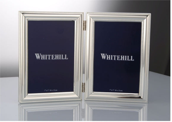 Whitehill Studio - Silverplated Beaded Double Photo Frame 13cm x 18cm
