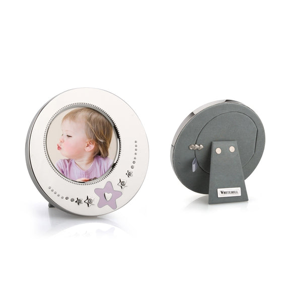 Whitehill Baby - Silverplated Pink Star Baby Photo Frame (8cm Diameter)
