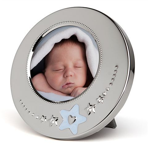 Whitehill Baby - Silverplated Blue Star Baby Photo Frame (8cm Diameter)
