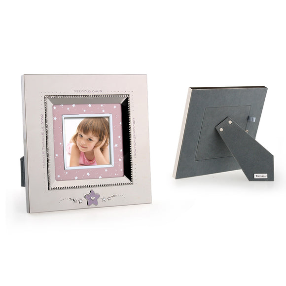 Whitehill Baby - Silverplated Pink Star Baby Square Photo Frame (7.6cm x 7.6cm)