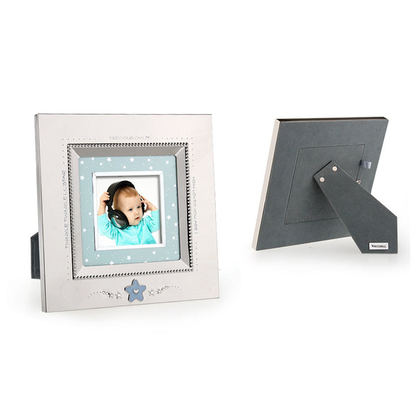 Whitehill Baby - Silverplated Blue Star Baby Square Photo Frame (7.6cm x 7.6cm)