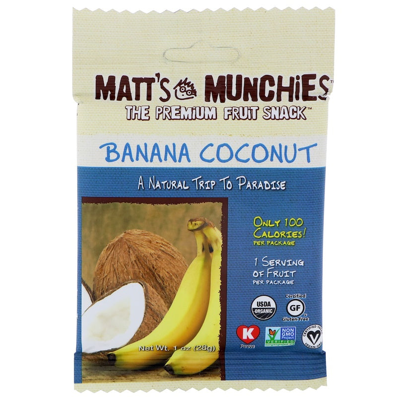 Matt's Munchies Banana Coconut Organic Fruit Snack 28g