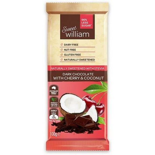 Sweet William Dark Chocolate With Cherry & Coconut 100Gr