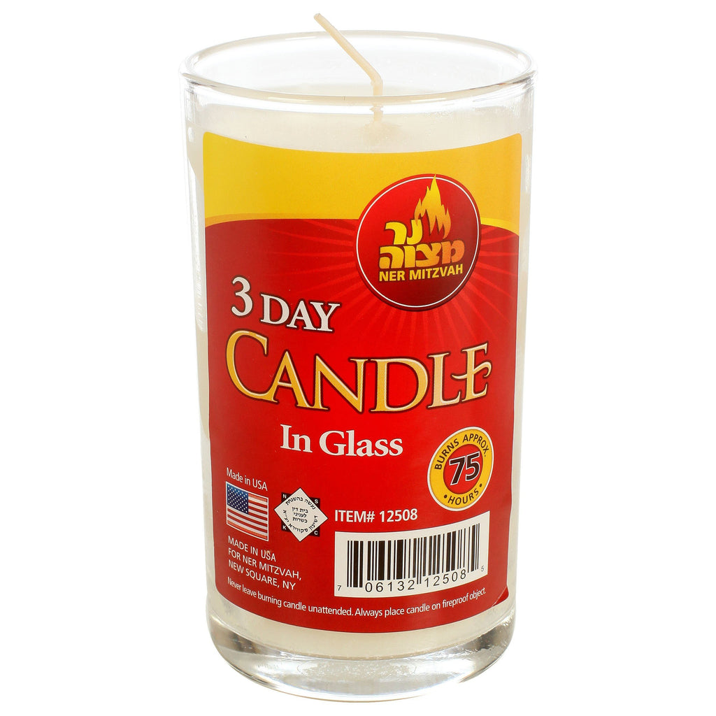 Ner Mitzvah 3 Day Candle In Glass