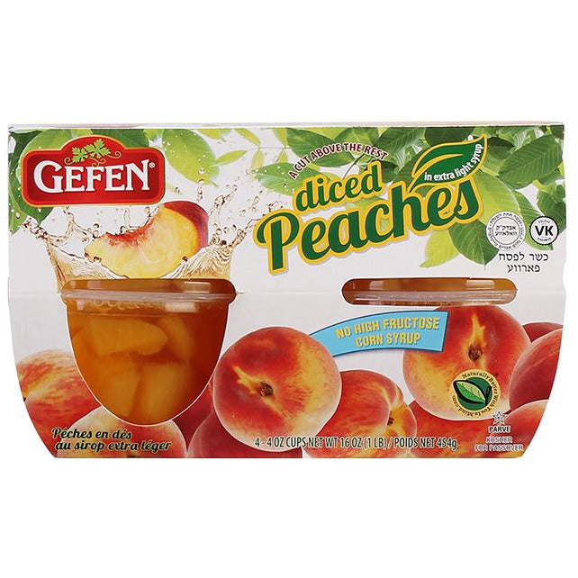 Gefen Diced Peaches 4Pk x 113Gr