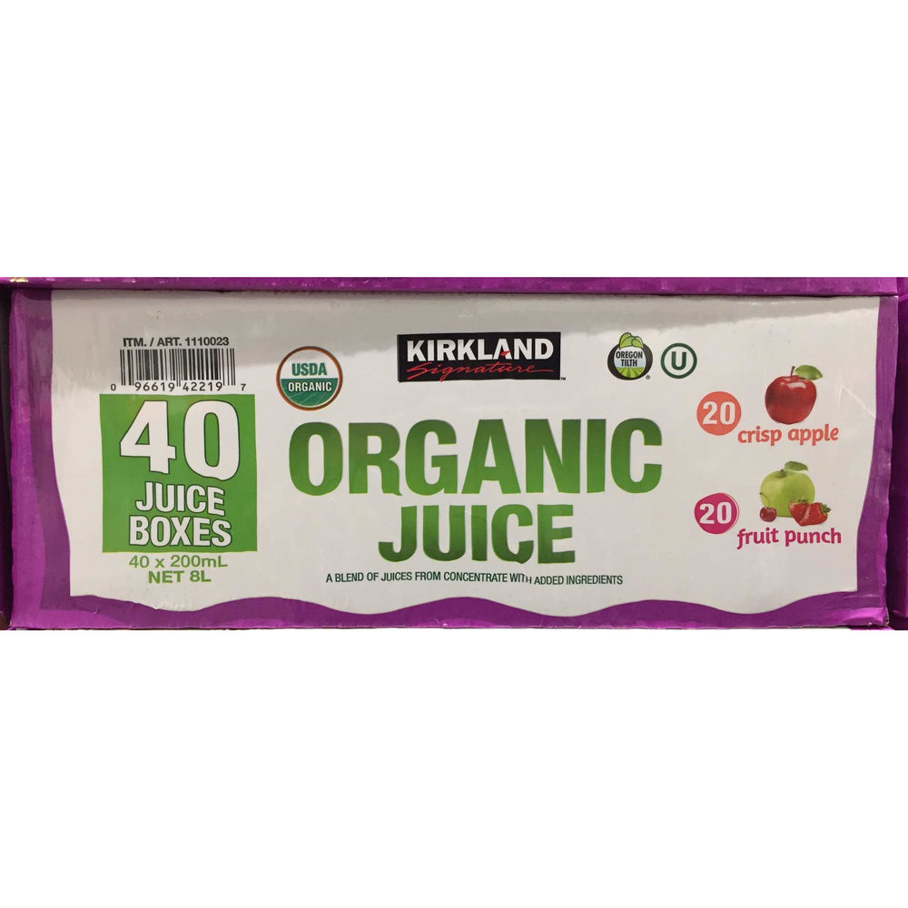Kirkland Signature Organic Juice Boxes 40 x 200ML