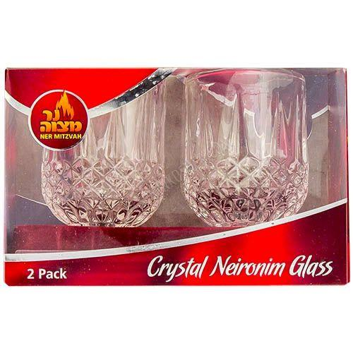 Ner Mitzvah Crystal Candle Glass Holder