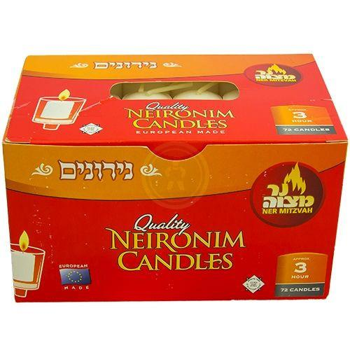Ner Mitzvah Neironim 72'S 3 Hour Candles
