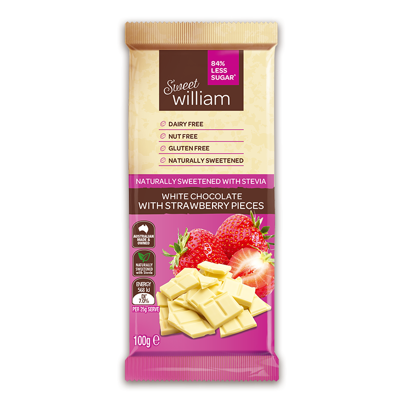 Sweet William Sweet As White Chocolate With Strawberry 100Gr