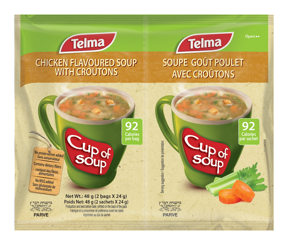 Telma Cup Of Soup Chicken Flavoured Soup With Croutons 2 Bags x 24g