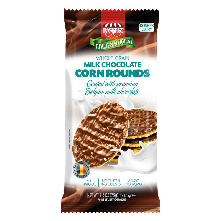 Paskesz Wholegrain Corn Rounds Milk Chocolate Coated 75 g