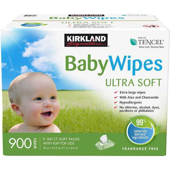 Kirkland Signature Tencel Baby Wipes Unscented 9 x 100 Wipes