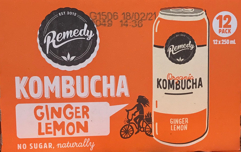 Remedy Kombucha Ginger Lemon 12 x 250ml cans